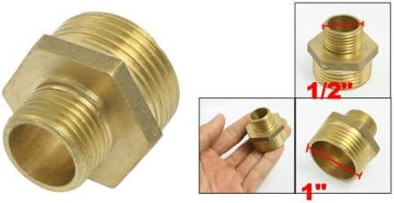 sourcingmap/® Adaptador de Conector reductor hexagonal Tono de oro Lat/ón 1 x 1//2