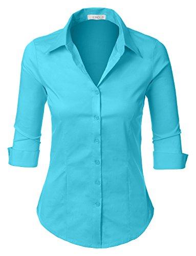 LE3NO Womens 3/4-Sleeve Easy Care Shirt, L3NWT574A_AQUA, X-Small