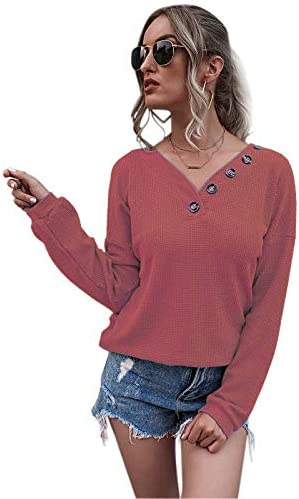 Aisyfull Women's Waffle Knit Tunic Tops Long Sleeve V-Neck Sweater Blouse Lantern Loose T Shirt Pullover