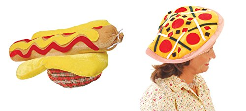 U.S. Toy Hot Dog Hat & Pizza Hat 2 Piece Bundle Set -