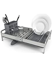 Shanik Rust Proof Expandable Draining Rack, Adjustable Dish Drainer Arms from 12 to 19 Inch, with Small Dish Drainer, Silverware and Utensil Storage Holder, Cutlery Tray and Sponge Rack