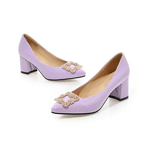 VogueZone009 Damen Eingelegt PU Leder Mittler Absatz Spitz Zehe Ziehen auf Pumps Schuhe Lila