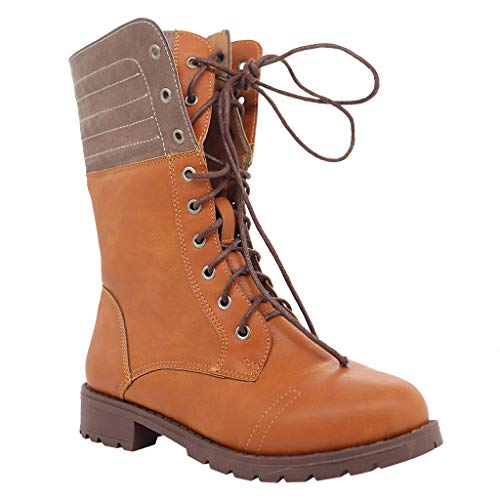 Women Rome Retro Knight Shoes Ladies Fashion Tube Lace Up Boots Casual Comfort Square Heel Boots
