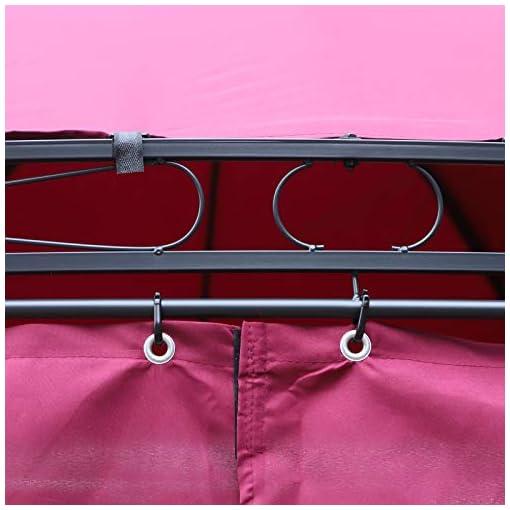 Outsunny Gazebo da Giardino Rotondo Doppio Tetto Pareti Rimovibili Chiusure a Gancio 6 Pali per Colonna e 6 Pali da Terra Acciaio Poliestere Rosa Φ350cm