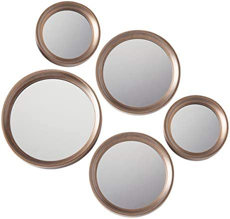 Torre Tagus 902073B Set of Five Portico Round Antique Mirrors, Gold