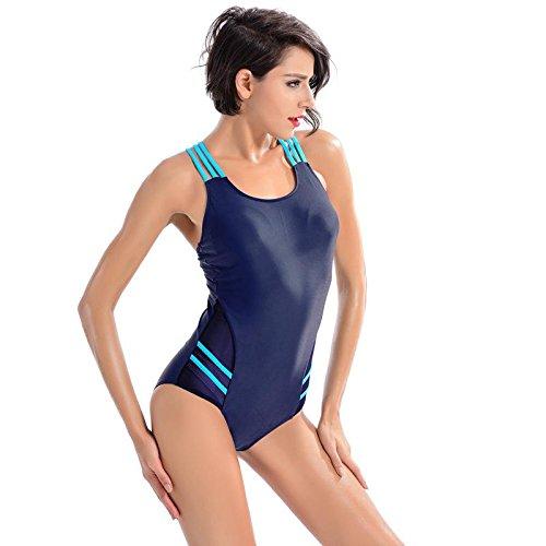 SHISHANG Traje de baño de traje de baño siameses de traje de baño de las señoras traje de baño de señora protección de la protección del medio ambiente alta elasticidad Europa y los Estados Unidos Blue