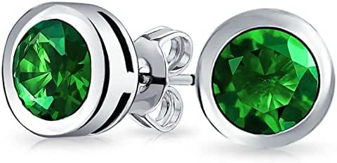 Bling Jewelry 925 Sterling Silver Simulated Emerald CZ Stud Earrings 6mm