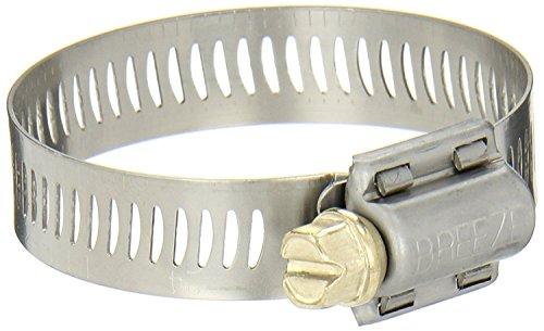Breeze Power-Seal Stainless Steel Hose Clamp, Worm-Drive, SAE Size 28, 1-5/16' to 2-1/4' Diameter Range, 1/2' Bandwidth (Pack of 10)