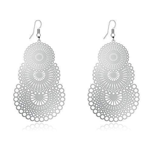 DMI Unique Jewelry Silver-Tone Alloy Hollow Out Flower Lightweight Bohemian Style Dangle ()