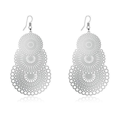 (DMI Unique Jewelry Silver-Tone Alloy Hollow Out Flower Lightweight Bohemian Style Dangle Earrings)