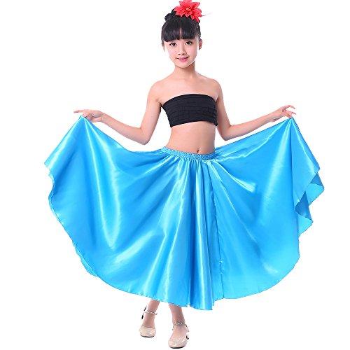 Satin Circle Skirt (Girl Children Color Stretched Waist Performance Circle Skirt Belly Dance Dress (L, blue))