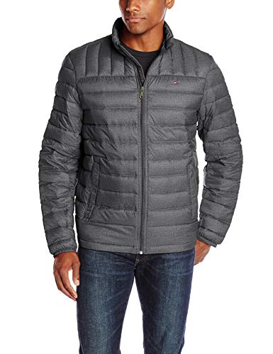 Tommy Hilfiger Men's Packable Down Jacket (Regular and Big & Tall Sizes), Cross Dye Charcoal, Medium