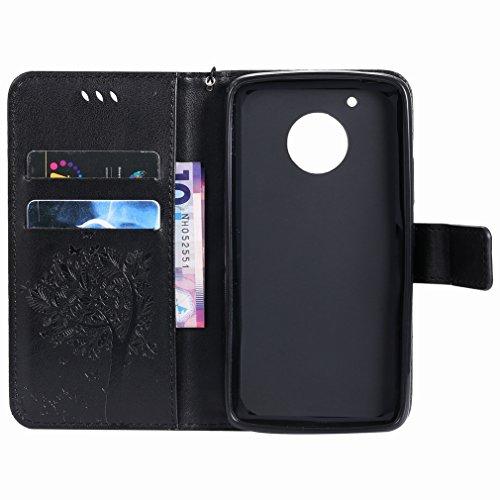 Yiizy Motorola Moto G5 Custodia Cover, Alberi Disegno Design Premium PU Leather Slim Flip Wallet Cover Bumper Protective Shell Pouch with Media Kickstand Card Slots (Nero)