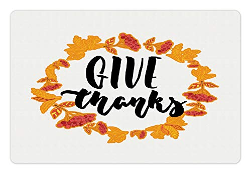 Lunarable Thanksgiving Pet Mat for Food and Water, Give Thanks Calligraphy in Pretty Autumn Botanic Wreath Artsy Illustration, Rectangle Non-Slip Rubber Mat for Dogs and Cats, Multicolor