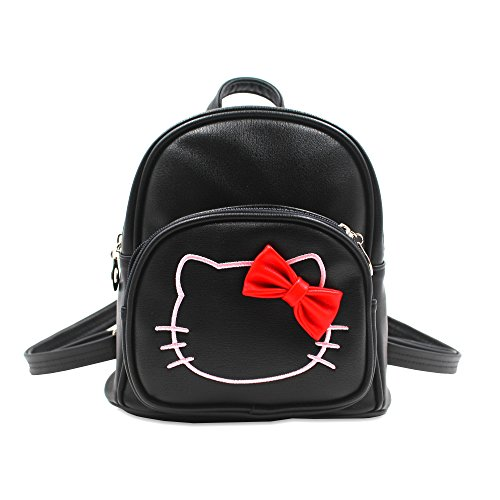 Finex PU Leather BLACK Hello Kitty Backpack with front zippered pocket and adjustable strap