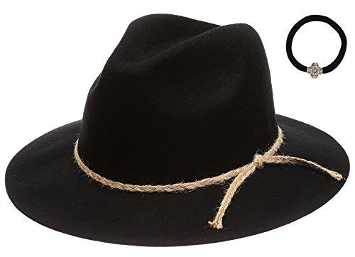 D&Y Women's 100% Wool Felt Cloche Short Brim Floppy Fedora Hat With Scrunchy (Jute - Wool Hat Felt Band