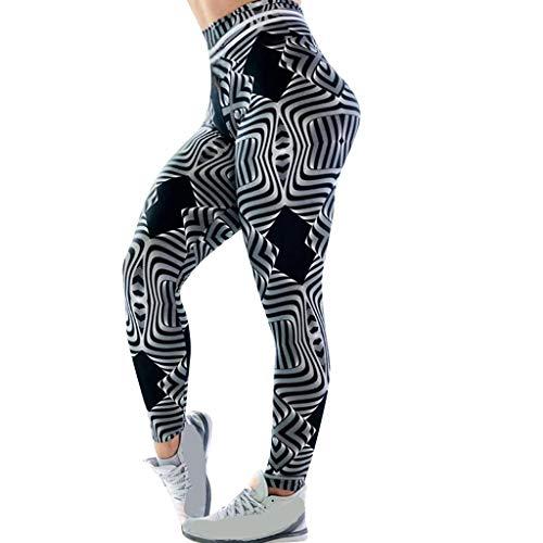 (PAQOZ Women's Yoga Pants, Casual Ripple Digital Print High Waist Sports Yoga Leggings(Black,XL))