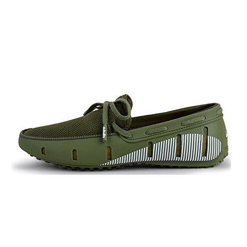 Heren Rijdende Loafer Fashion Slipper Casual Slip Op Loafers Bootschoenen Voor Strand, Zwembad, Stad En Rondom Comfort Groen Met Witte Bedrukking