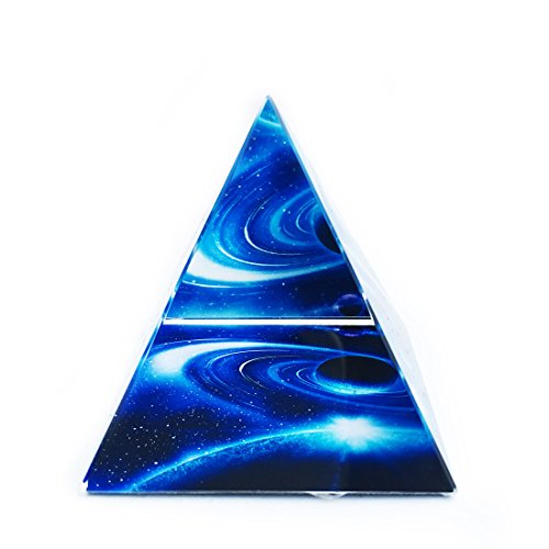 Waltz&F Crystal Planet Pyramid Paperweight Galss Pyramid Figurine Collectible Home Office Table Decoration ()