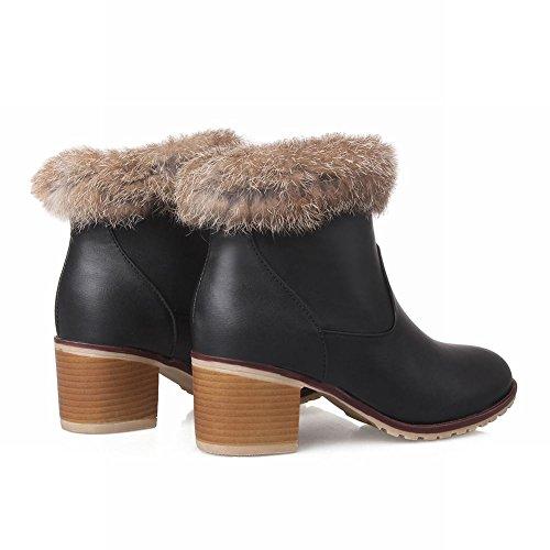 Carolbar Womens Pull-on Faux Fur Elegance Wool Lining Charm Fashion Mid Chunky Heel Winter Dress Boots Black OAREzpY