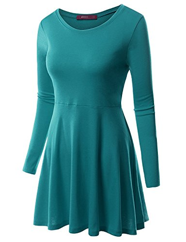 - MRstriver Round Neck Flared Skater Tunic Dress For Women With Plus Size Cwdtd06_tealblueLarge
