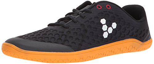 Vivobarefoot Stealth 2 Men's Iconic Road Running Shoe, Black/Orange 42 D EU (9 US)