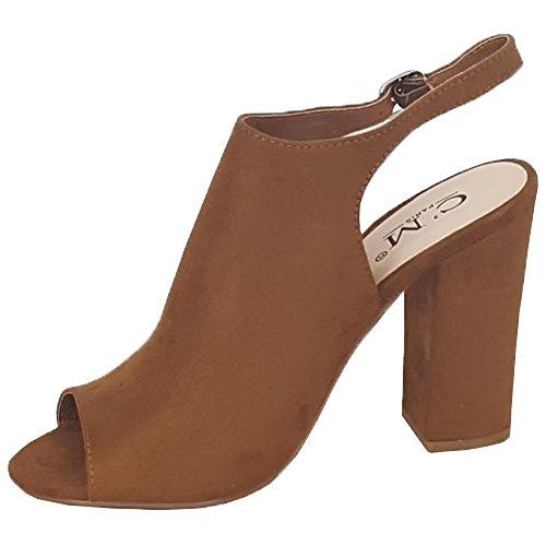Bloque Escarpin Fête Femmes Femmes Look Sandales 1658219 Bout Boucle Mules Ouvert Chameau Daim MCM Pour wx0gq87Tg