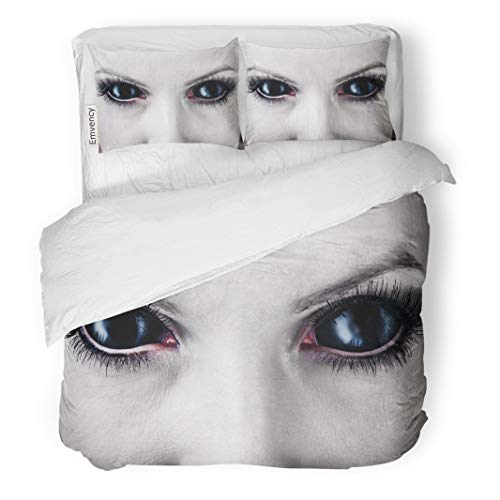 Tarolo Bedding Duvet Cover Set Demon Evil Black Female Alien Vampire Zombie Eyes Dirt Make Up Macro Halloween Devil 3 Piece Twin 68