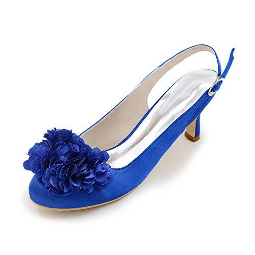 Womens Court Heels 1195 Pompe Kitten Closed Flower Ager Scarpe Blue Dress Toe Slingback 02H Satin gPqtz7w15