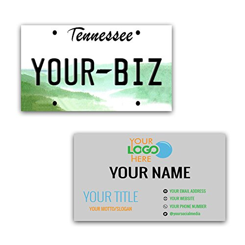 (BleuReign(TM) Personalized Custom Aluminum Tennessee License Plate Double Sided Business Cards set of 100 - with FREE BUSINESS CARD HOLDER)