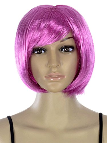 AshopZ Women Cosplay Costume Short Curly Wavy Halloween Party Wigs (Cheap Coloured Wigs)