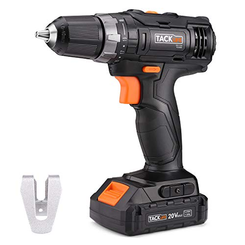 Tacklife PCD06B 20V MAX Lithium-Ion 3/8' Cordless Drill Driver, 2-Speed Max Torque 265 In-lbs 19+1 Position with LED, Compact Battery Cell and Charger Included