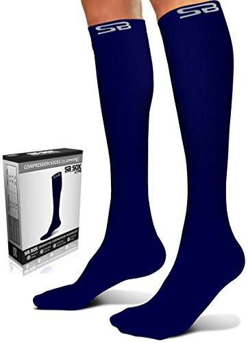 SB SOX Lite Compression Socks (15-20mmHg) for Men & Women - Best Stockings for Running, Medical, Athletic, Edema, Diabetic, Varicose Veins, Travel, Pregnancy (Solid - Navy, L/XL) (Man's Best Friend Houston Reviews)