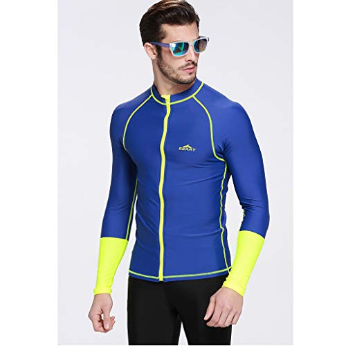 Allywit Men's Wetsuit Top Jacket, Neoprene Jacket Long Sleeve Front Zip Wetsuit Shirt for Diving Surfing Snorkeling Rafting Blue by Allywit (Image #1)