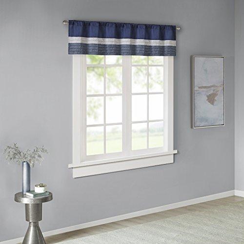 Amherst Polyoni Pintuck Teal Gray Window Valance , Modern Rod Pocket Valances for Windows , 50X18