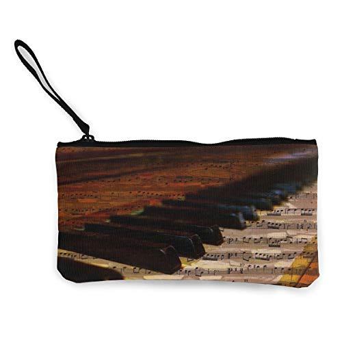 Piano Keys Music Notes Womens Canvas Coin Purse Mini Change Wallet Pouch-Card Holder Phone Wallet Storage Bag,Pencil Pen Case ()