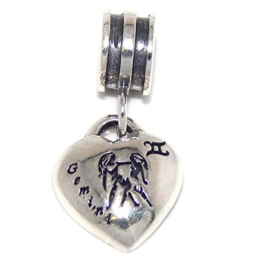 ICYROSE Solid 925 Sterling Silver Dangling Gemini Zodiac Sign Heart Charm Bead 4647 for European Snake Chain - Sterling Silver Bead Zodiac