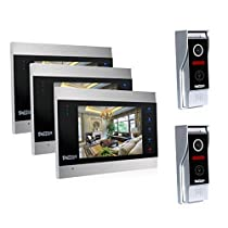 TMEZON Video Door Phone Intercom 7 LCD Full Color Doorbell Intercom Kit 2 Camera 3 Monitor HD 1200TVL Home Security System