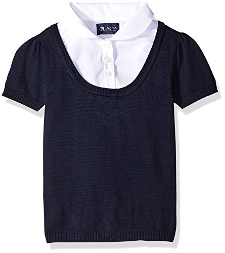 Little Girls' Short Sleeve Faux Layered Uniform Sweater, Tidal, Small/5/6 (Childrens Place Sweater Vest)