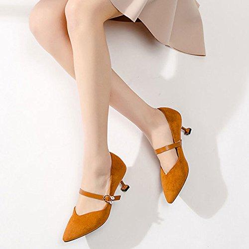 à Bouton Mode Femmes pour Pointu Chaussures Talons Un Boucle Hauts Brown DKFJKI Joker Stiletto Daim Strass qwH04XO