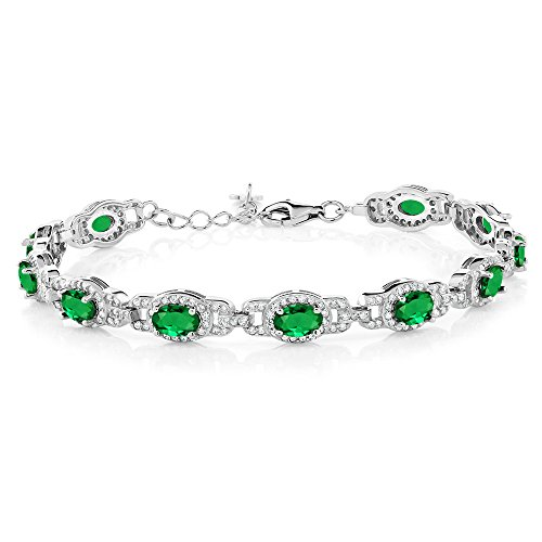 imulated Emerald 925 Sterling Silver 7 Inch Bracelet With 1 Inch Extender (Emerald 925 Silver Bracelet)