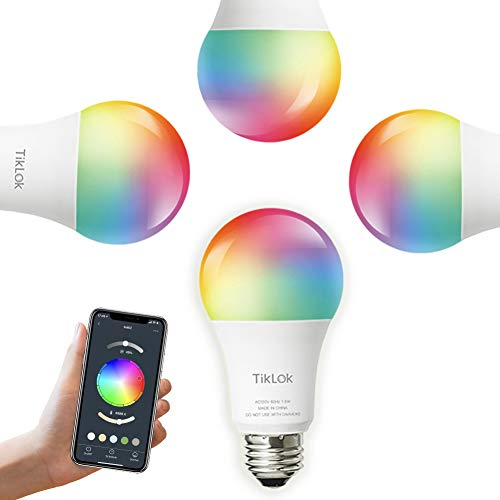 Smart WiFi LED Light Bulbs Compatible with Alexa Google Home, Siri and Echo(No Hub Required), TIKLOK RGBCW Multi-Color, Warm to Cool White Dimmable 7.5W E26 A19 Color Changing Bulb(4 Pack)