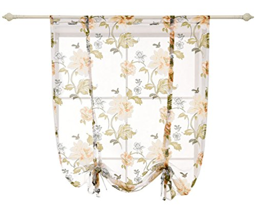 HomeyHo Balloon Curtains & Tie-Up Curtains Semi Sheer Curtain Sheer Curtain Kitchen Peony Curtains Semi Sheer Curtain Kitchen Window Coverings Curtains Balloon Curtains For Bedroom, 39 x 47 Inch