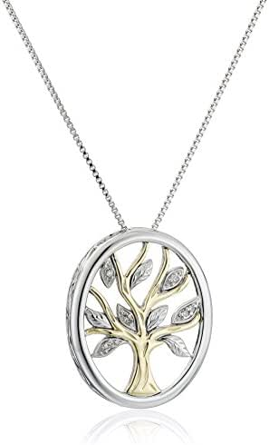 Sterling Silver and 14k Yellow Gold Diamond Accent Family Tree Pendant Necklace,18