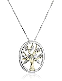 Sterling Silver and 14k Yellow Gold Diamond Accent Tree of Life Pendant Necklace