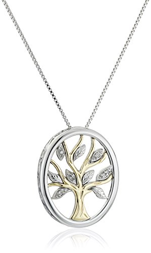Sterling Silver and 14k Yellow Gold Diamond Accent Family Tree Pendant Necklace, 18