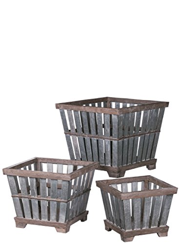 Sullivans Decorative Crate Square Planters Galvanized Metal Slats with Rustic Wood Trim, 10 to 15 Inches Each Each, Silver and Brown, 3