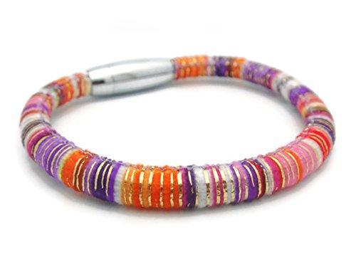 [APECTO Jewelry Handmade Multicolored Cotton Wristband Bracelet Bangle Stainless Steel Magnetic-Clasp Bracelet (Purple),] (Garnet Cosplay Costume)