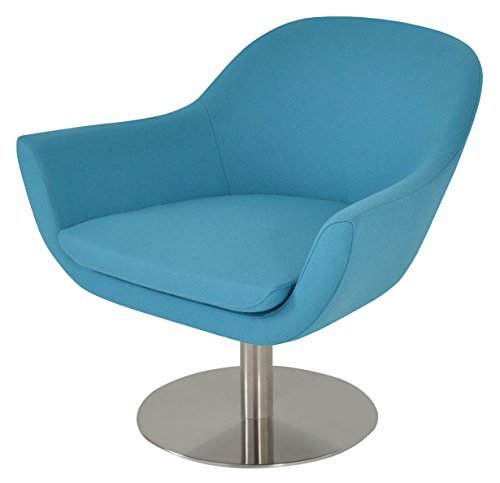 Soho Concept MadisonS-AW-TCW Swivel Chair with American Walnut Base, Turquoise Camira (American Walnut Base)