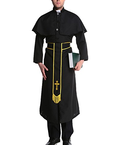Eternatastic Halloween Costume Monks Costume Priest Friar Role Play Gold-Cross M ()